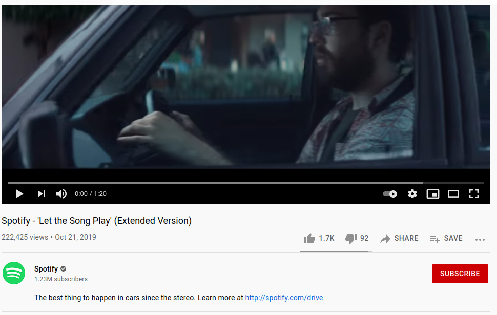 Spotify is a great video campaign example